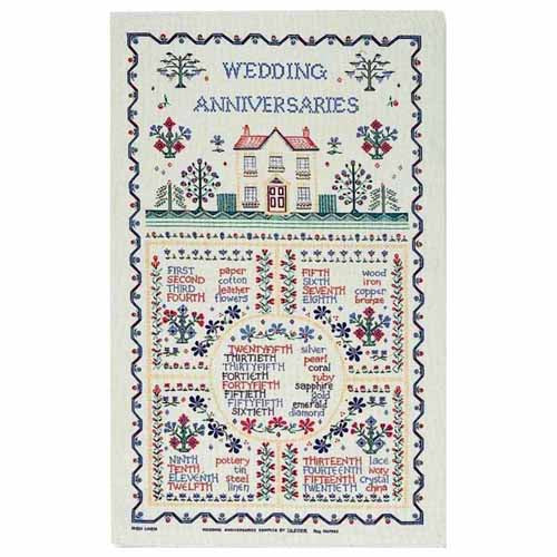 Wedding Anniversaries Linen Tea Towel