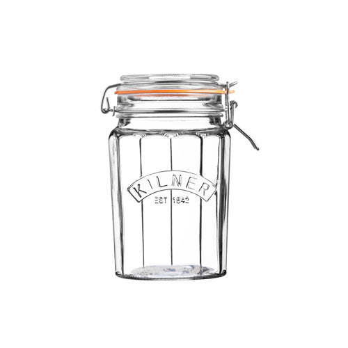 Facetted Clip Top Jar, 0.95 Litre