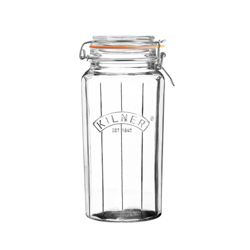 Facetted Clip Top Jar, 1.8 Litre