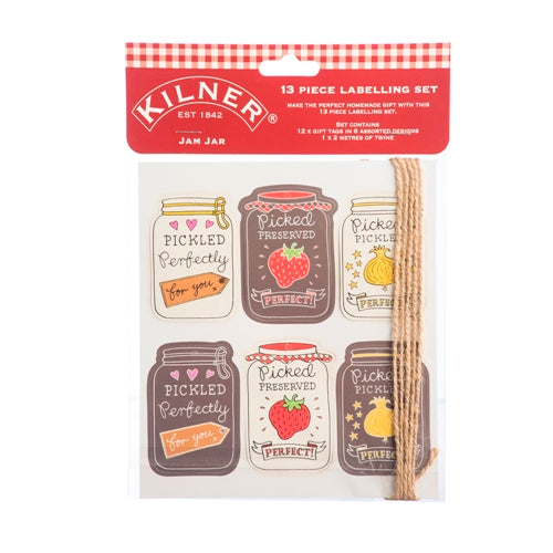Kilner 13 Piece Labelling Set, Pickled