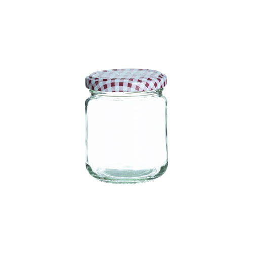 Round Twist Top Jar With Red Lid, 228ml