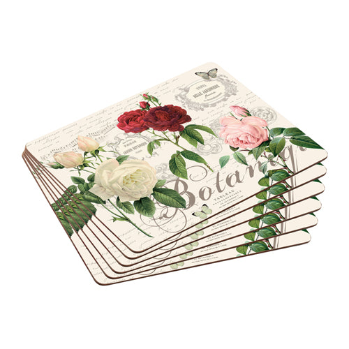 Cork Backed Placemats, Set Of 6, Garden Rose