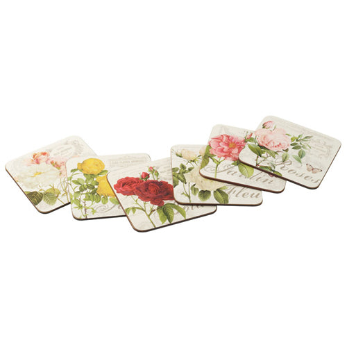 Cork Backed Coasters, Set Of 6, Garden Rose