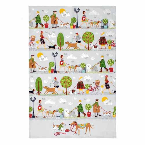 'Walkies' Cotton Tea Towel