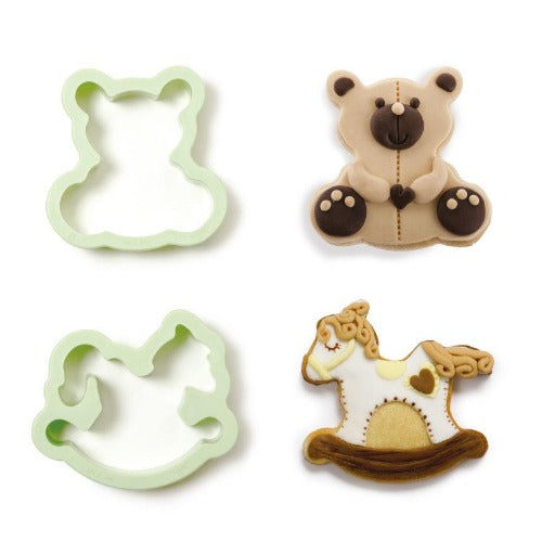 TEDDY BEAR & ROCKING HORSE COOKIE CUTTERS, SET OF 2