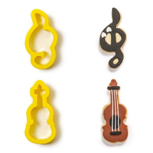 VIOLIN & MUSIC NOTE COOKIE CUTTERS, SET OF 2