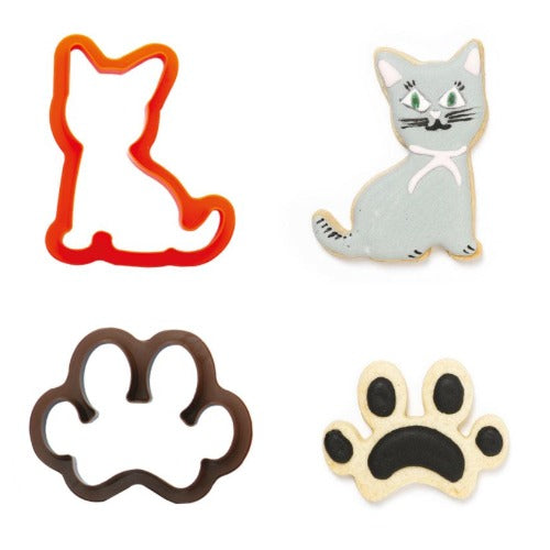 CAT & PAW PRINT COOKIE CUTTERS, SET OF 2