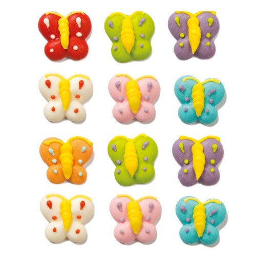 BUTTERFLY SUGAR CAKE DECORATIONS, 12 PIECE
