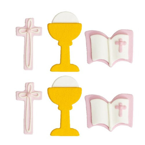 COMMUNION SUGAR CAKE DECORATIONS, 6 PIECE, PINK
