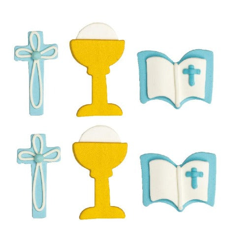 COMMUNION SUGAR CAKE DECORATIONS, 6 PIECE, BLUE