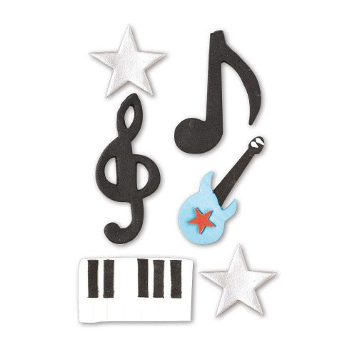 MUSIC SUGAR CAKE DECORATIONS, 6 PIECE