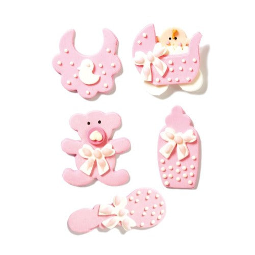 BABY NURSERY SUGAR CAKE DECORATIONS, 5 PIECE, BLUE