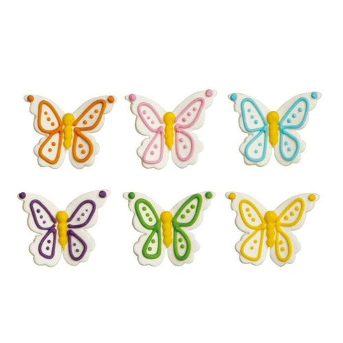 BUTTERFLY SUGAR CAKE DECORATIONS, 6 PIECE