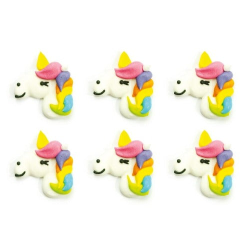 UNICORN SUGAR CAKE DECORATIONS, 6 PIECE