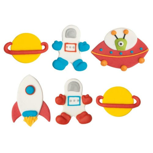 SPACE SUGAR CAKE DECORATIONS, 6 PIECE