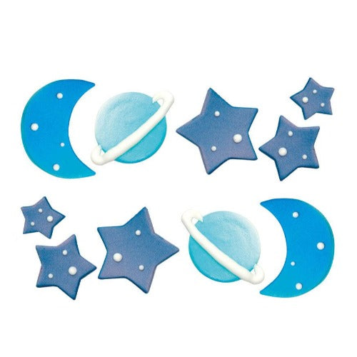 GALAXY SUGAR CAKE DECORATIONS, 6 PIECE