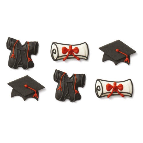 GRADUATION SUGAR CAKE DECORATIONS, 6 PIECE