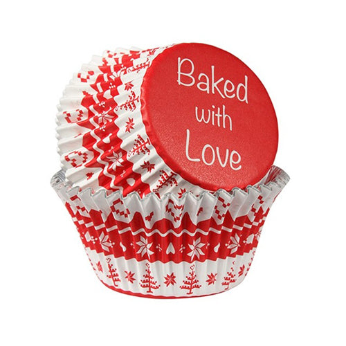 Baked With Love Foil Lined Baking Cases, 50mm, Pack of 25, Red Nordic