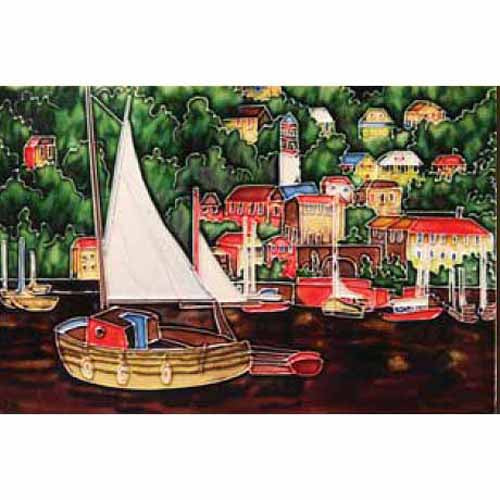 "Benaya Art Ceramic Tiles 'Waterfront', 8"" x 12"""