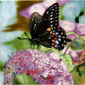 "Benaya Art Ceramic Tiles 'Butterfly Bush', 12"" x 12"""