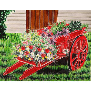 "Benaya Art Ceramic Tiles 'Flower Cart', 11"" x 14"""
