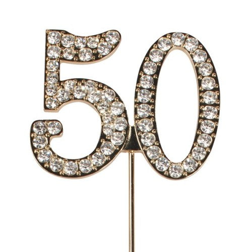 Diamante Cake Topper On Gold Wire, Number 50