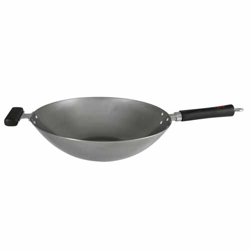 "Dexam Professional Gauge Carbon Steel Wok With Stay Cool Handle, 14""/35cm"