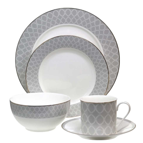Tipperary Crystal Net 20 Piece Dinner Set, Grey