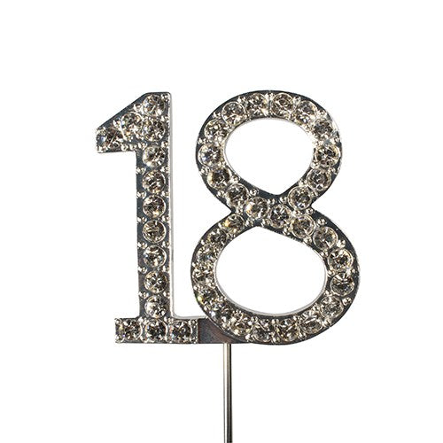 Diamante Cake Topper, Number 18