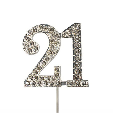 Diamante Cake Topper, Number 21