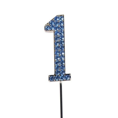 Diamante Cake Topper, Number 1, Blue