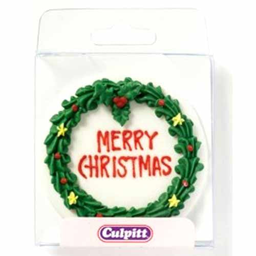 Round Christmas Cake Wreath Plaque