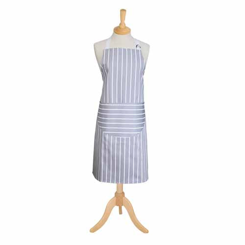Classic Butchers Stripe Adult Apron, Dove Grey