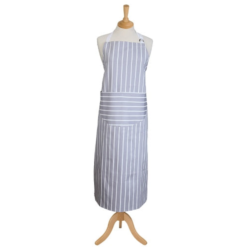 Classic Butchers Stripe Long Apron, Dove Grey