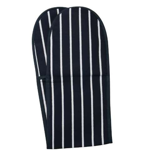 Classic Butchers Stripe Double Oven Glove, Navy