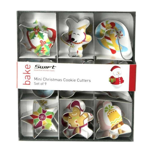 Mini Christmas Cookie Cutters, Set Of 9