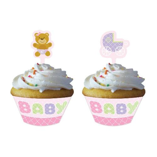 Cupcake Wrappers With Toppers, 12 Kits, Pink