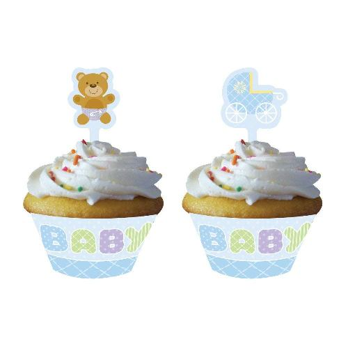 Cupcake Wrappers With Toppers, 12 Kits, Blue