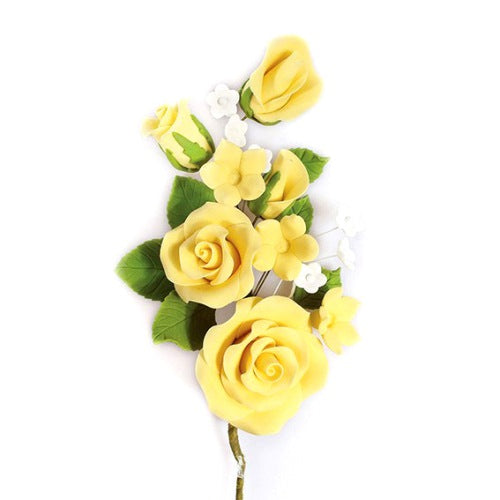 Gum Paste Rose Spray Cake Decoration (20134), 145mm, Yellow