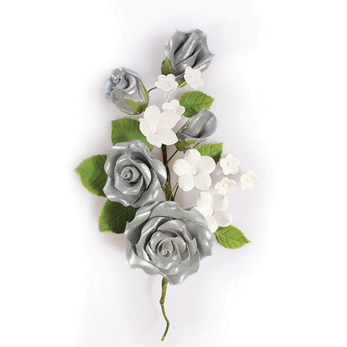 Gum Paste Rose Spray Cake Decoration (20139), 145mm, Silver