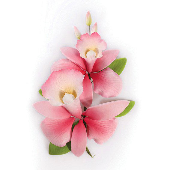 Gum Paste Orchid Spray Cake Decoration (20144), 142mm, Pink