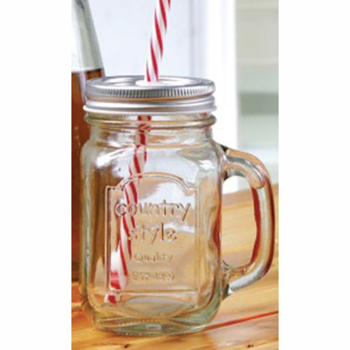 Eddingtons Country Mason Jar Mug With Straw