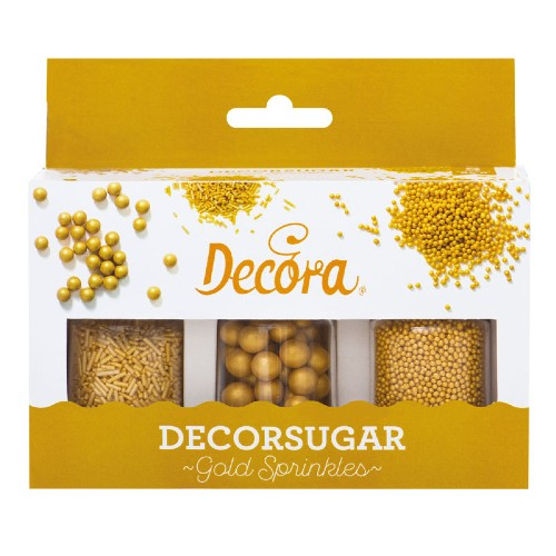 GOLD SUGAR PEARLS CAKE DECORATIONS, SET OF 3