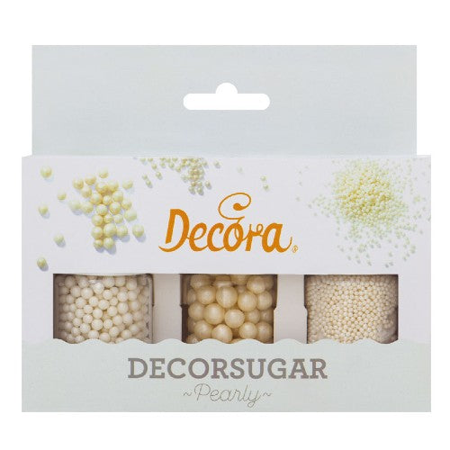PEARLY WHITE SUGAR PEARLS CAKE DECORATIONS, SET OF 3