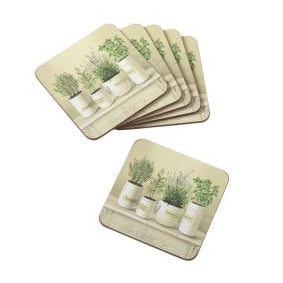 Cork Backed Coasters, Set Of 6, Old England Herbs