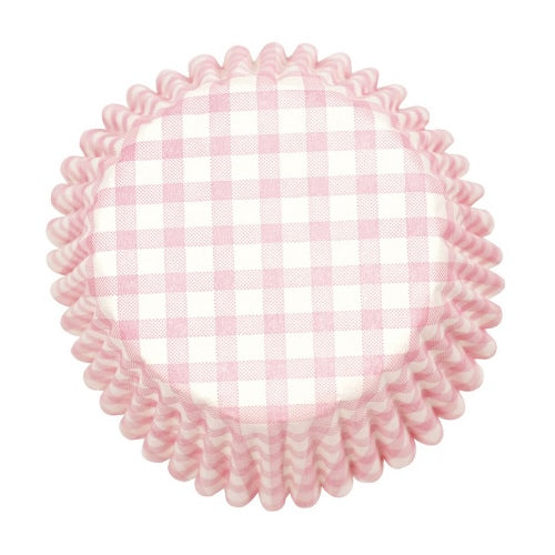 Gingham Printed Baking Cases, 50mm, Pink