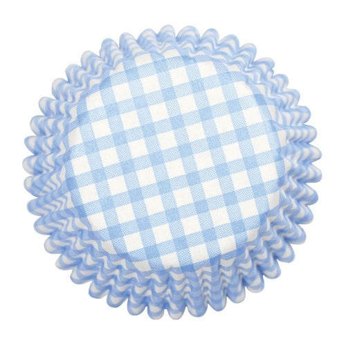 Gingham Printed Baking Cases, 50mm, Blue