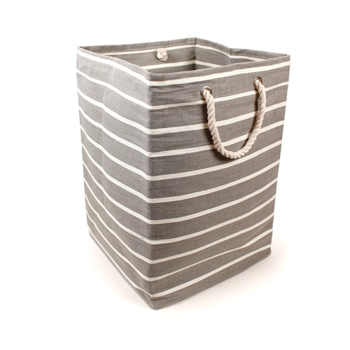 Grey Pin Stripe Rectangular Storage Cube