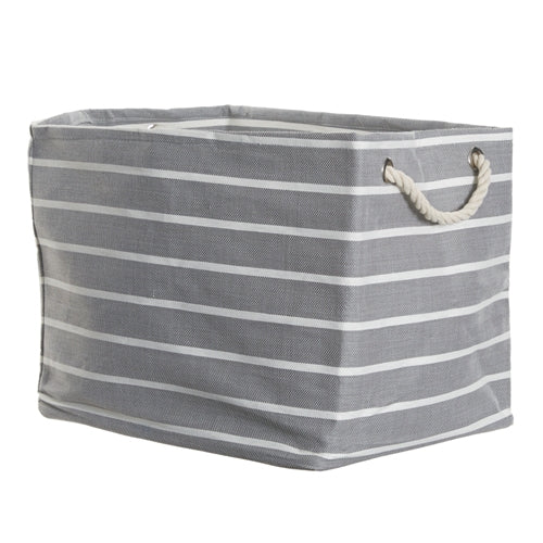 Grey/White Pin Stripe Rectangular Storage Cube