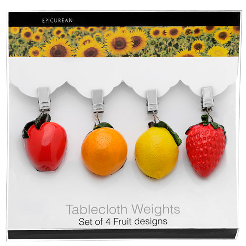 Epicurean Table Cloth Weights, Fruits, Set of 4